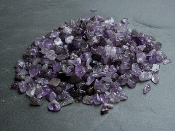 Amethyst beads - de-stash.  145g of 2-11mm gemstone chips