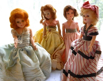 Vintage 1960s Hard Plastic Four Storybook Dolls - Some of The World - Country Prairie Farmhouse Cottage Chic