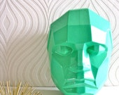 Modern Angular Face in bright mint green wall hanging