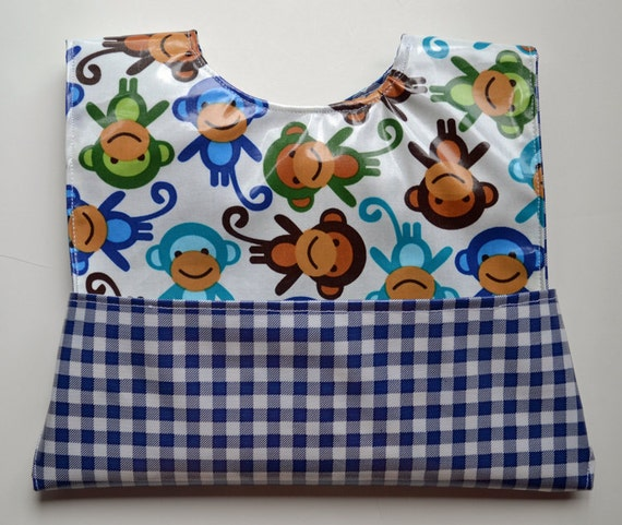Wipeable Pocket Bib - Navy Monkeys