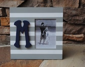 Large Picture Frame . . 5x7 Picture . .Table or Wall Frame . .Hand Painted. . Grey (Gray) and Navy Stripes with Navy Wooden Letter Monogram