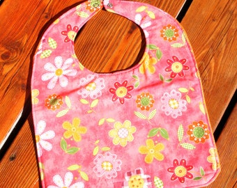 TODDLER BIB: Flowers on Salmon, Personalization Available
