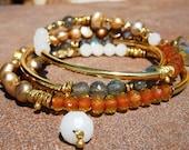 D'Marie Gold Vermeil, Labradorite Gemstone, Freshwater Pearls Wrap Bracelet