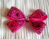 Hot Pink and Black Rose Patterned Double Hair Bow with Free Matching Mini Hair Bow - Girls, Women Hair Accessory