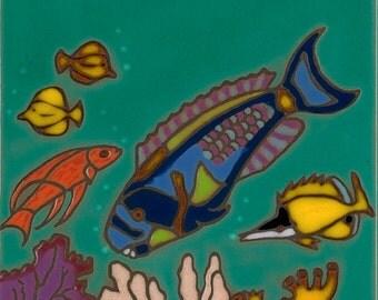Hand Painted Ceramic Tile Parrot Fish in Hawaii Original Art
