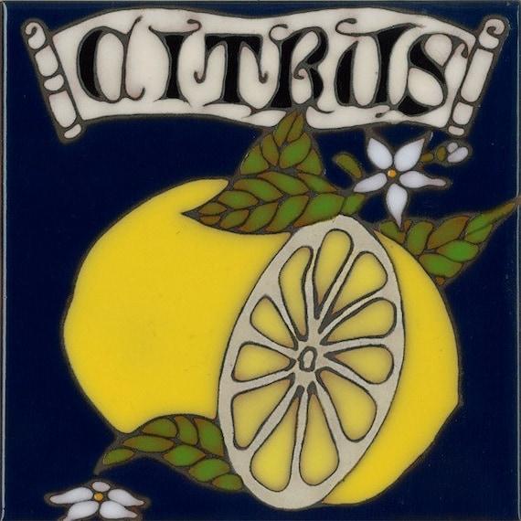 Hand Painted Ceramic Tile Lemon Citrus Original Art