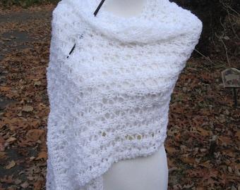Wedding Lace Bridal White Handmade Wrap Knit Shawl