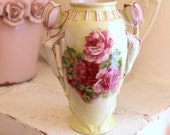 Small Vintage Vase...Pink Roses...Tulip Handles...Urn...Made in Austria...Unique and Absolutely Beautiful