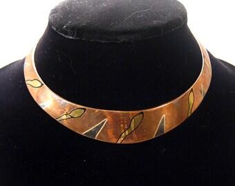 Sale - Copper tone choker, mixed metal, vintage, handmade, multicolor geometric design