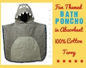 TeRRY PoNCHo Hooded ToWEL SHaRP the SHaRK Custom MoNOGRAM NaME Embroidery Unisex Boy Girl Beach Bath Time Towel Wrap Fun Gift Stephen Jospeh