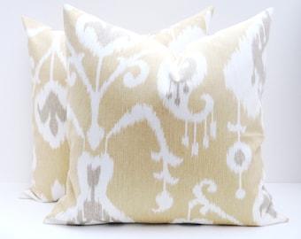 Throw pillow covers - pillow covers - Ikat Pillow - ikat Pillow covers - decorative pillows - yellow pillow - gold pillow - accent pillow