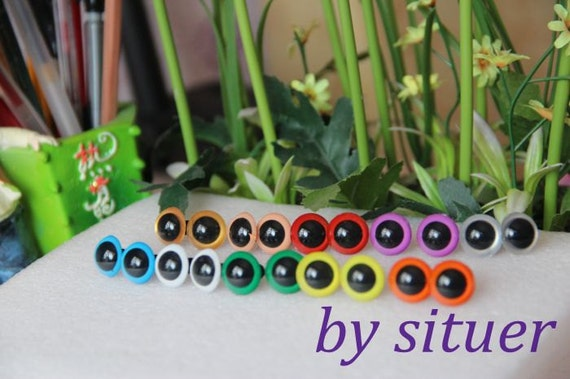 12mm hand painted 10-colors plastic safety eyes  - 1 pairs for each color