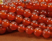 15 inch strand of Carnelian smooth round beads 8 mm