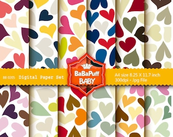 Buy 2 Get 2 Free ---- Heart Digital Papers ---- Personal and Small Commercial Use ---- BB 0205