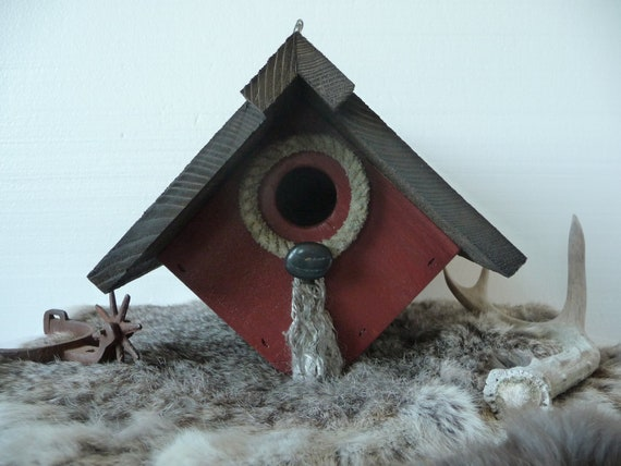 Outdoor Hanging Bird House Barn Red with Cowboy Rope by Plus Z Ranch
