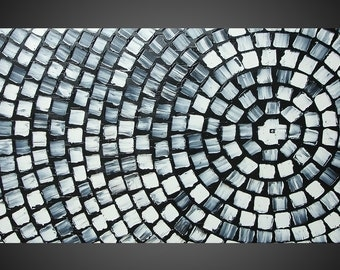 Black and White Squares Painting ORIGINAL Abstract Modern Acrylic Painting Art Deco Textured Modern Ready to Hang 48 x 24 Made to Order