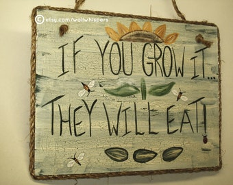 Farm Sign Sustainable Agriculture Farming Organic Garden Horticulture Rustic Farmhouse Produce Department Sunflower Art Bee Sign Farmer Gift