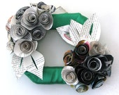NOW ON SALE!! Small Emerald Green Ribbon Wrapped Large Rosette Cluster Horizontal Hanging Wreath