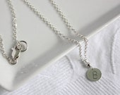 Silver Monogram Necklace - Tiny Initial Disc Charm - Personalized Handmade Sterling Silver Jewelry
