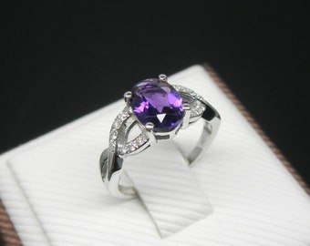 Engagement Ring -  1.5 Carat Amethyst Ring With Diamonds In 14K White Gold
