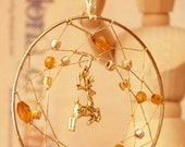 Dreamcatcher with Crystals and Charms, Handmade Wiccan: Matching pair, decorative and unique, Christmas gold,deer