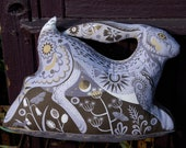 Hester the Hare Tea Towel / Cloth Kit - A silkscreen design by Sarah Young