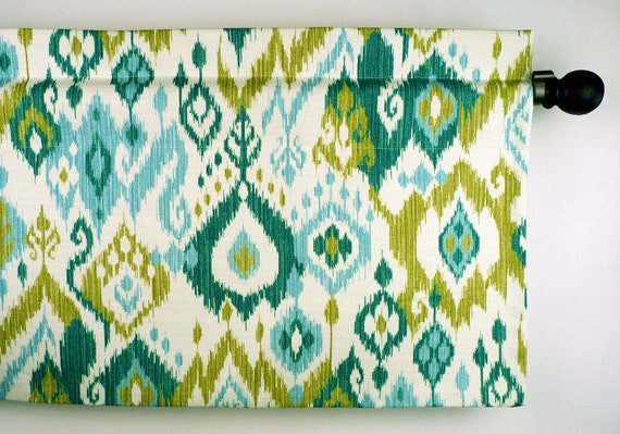 Items similar to Ikat Window Valance in Blue Green Teal by Mill ...