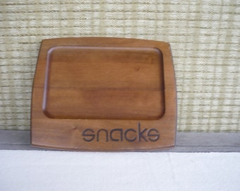 Vintage Wood Snack Tray, Mid Century Modern Tray