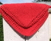 Hand Knit Red Cotton Dish Cloths