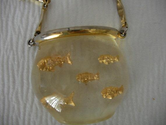 Vintage Castlecliff Lucite Fishbowl Necklace
