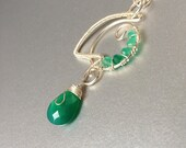 Green Chalcedony wire wrapped jewelry handmade, wire wrapped handmade necklace