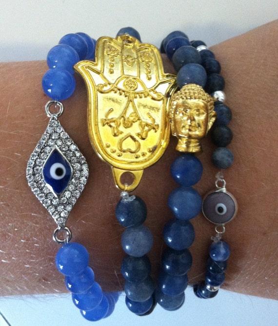 Sodalite and Purple Evil Eye Bracelet