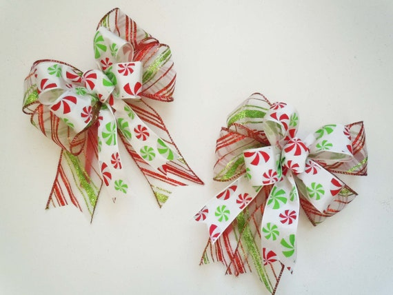 2 Christmas Red Green Lollipop Candy Cane Bows Christmas Tree Bows Christmas Holiday Gift Bows Ornament Bows Garland Wreath Bows