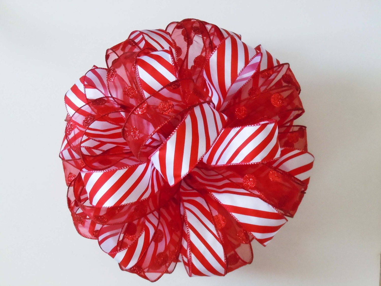 Red White Christmas Bow Tree Bow Topper Christmas Tree Topper
