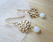 SALE - Filigree Daisy Earrings, gold & amazonite flower dangles, simple dainty jewelry, bridesmaid earrings, minimalist jewelry