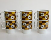 Retro Daisy Mugs, Set of 6, Made in Japan, Brown and Gold Vintage Coffee Cups