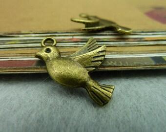 30PCS antique bronze 15x22mm bird charm pendant- Wc88