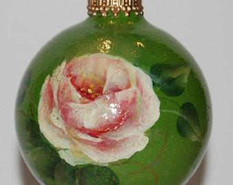 Handpainted Rose Glass Ornament