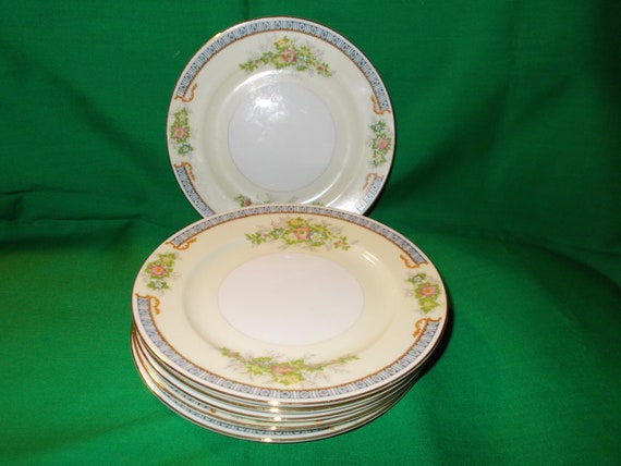 """Six (6), 6 1/2"""" Bread and Butter Plates, from Meito China of Japan, in the Cecil (F&B Japan) Pattern"""