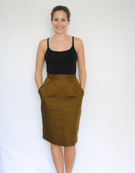 SALE Vintage Skirt -- Army Green Pencil Skirt -- Military Green Brown Knee Length XSmall - Small