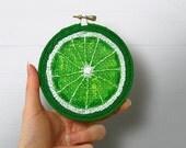 Lime Embroidery Hoop Art, Painted Burlap, Kitchen Wall Art, Fabric Wall Art, Hand Sewn Textile Art, Mixed Media Painting, Fiber Art