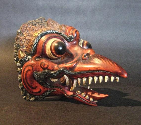 Vintage Polychrome & Wood Bird Mask Bali, Indonesia