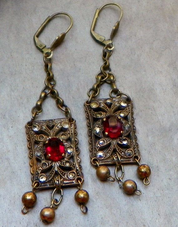 Victorian Czech Bridal Red-Ruby  Earrings, W West Germany