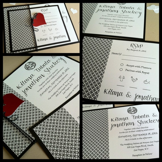 Black & White Wedding Invitations - ASIAN - Modern - Art Deco - Linen - Typography - Zen - Red Heart