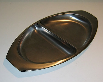 Vintage 1950s Kalmar Stainless Steel Divided Tray, Danish Modern Style