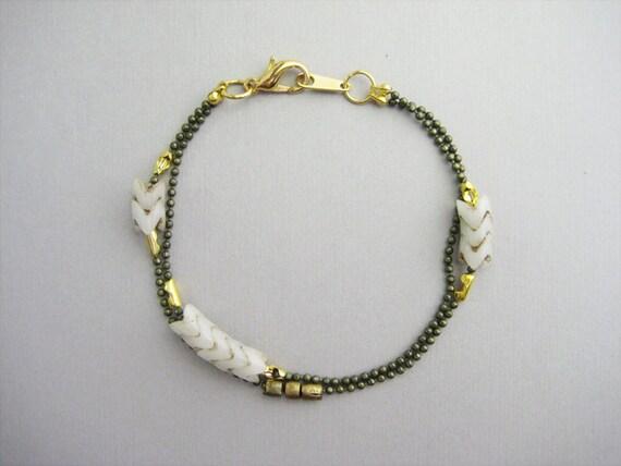 SALE -- Double Strand Chevron Bracelet - Solid - White