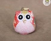 Botan - Cute Owl Doll with a Bag: plush, owl decor, pink, flower, little, mini, kid, owl decoration, kawaii, animal, bird, iammie
