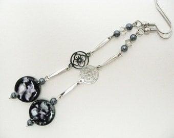 Black Shell Earrings dangle and drop handmade earrrings with lotus flower chain black pearl earrings long silver earrings womens jewelry