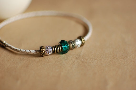 Braided Leather Bracelet with Metal Silver Antique Bronze & Turquoise Beads Magnet Clasp