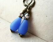 Blue Teardrop Earrings. Opaque Sapphire Blue Earrings Sea Glass Earrings. Blue and Silver Earrings. Downton Abbey Earrings. SGT1.